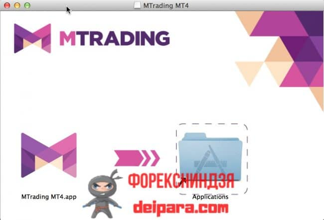 Рисунок 2. Однофайловая комбинация эмулятора и MetaTrader 4 для Mac OS, скачать которую предлагает брокер MTrading.