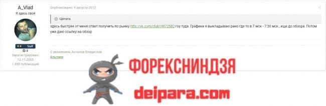 Рисунок 3. Одно из первых сообщений аналитика Владислава Антонова на Альпари-форуме в 2019 году.