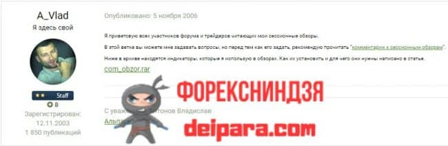 Рисунок 2. Первое сообщение Антонова на Альпари-форуме в ветке «Сессионные обзоры».