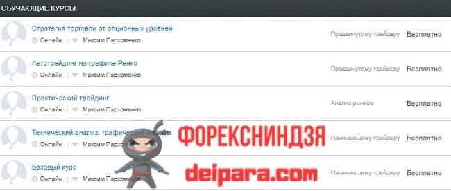 Рисунок 6. На веб-ресурсе Alpari UA находится список обучающих программ, ориентированных на украинцев.