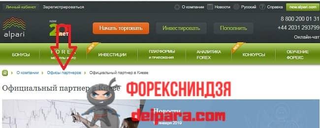 Рисунок 4. Ссылка для перехода на страницы с офисами партнеров Альпари в Украине и других странах.