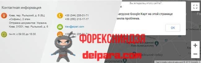 Рисунок 3. Адрес филиала в Киеве Альпари брокера.