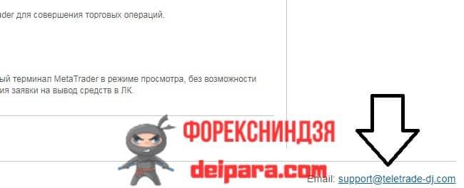 Рисунок 10. Вот на этот email (указан черной стрелкой) надо отсылать заявление, чтобы удалить личный кабинет Телетрейд.