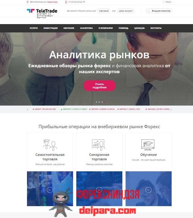 Рисунок 1. Структура главной страницы сайта Телетрейд в Казахстане.