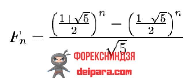 Рисунок 1. Явная формула ряда чисел Фибоначчи.