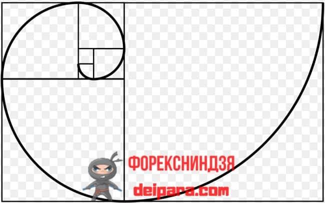 Рисунок 1. Идеальная спираль Фибоначчи – принцип построения.