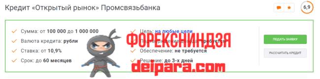 Кредит «Открытый рынок» в Промсвязьбанке