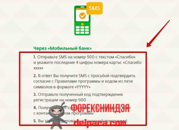 Подключение СПАСИБО через мобильный банк Сбербанка