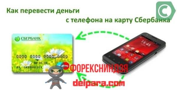 Как перевести деньги с телефона на собственную карту Сбербанка