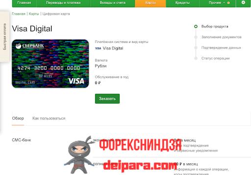 Цифровая карта Сбербанка VISA