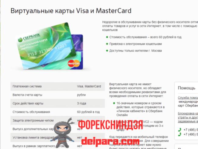 Виртуальная кредитка от Сбербанка