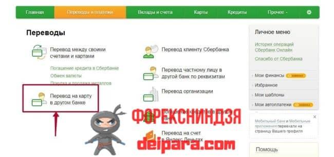Перевод с кредитной карты Сбербанка на карту Сбербанка