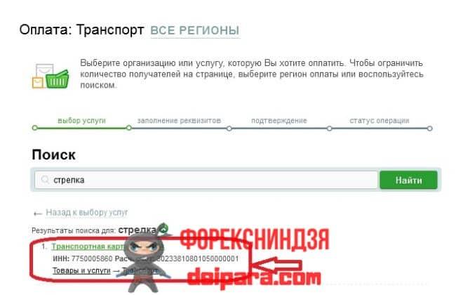 Процедура пополнения транспортной карточки при помощи онлайн сервиса Сбербанка