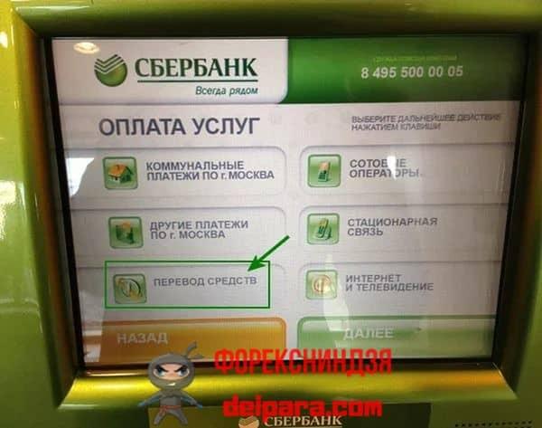 Перечисление денег с помощью банкоматов Сбербанка