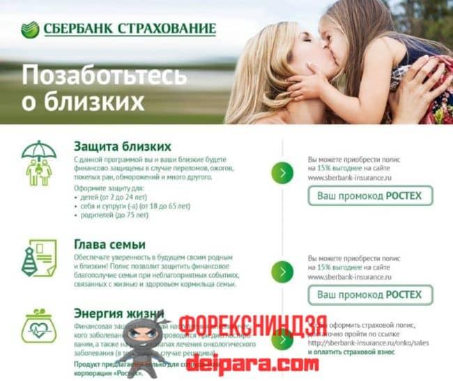 Страхование близких людей от Сбербанка России